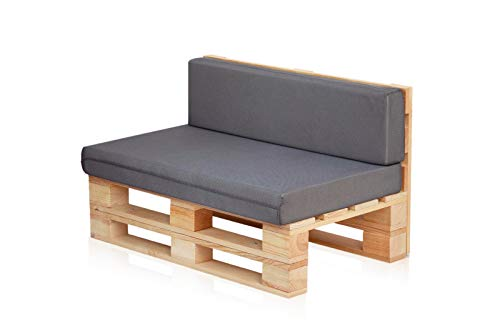 Conjunto Sofa DE PALETS + Set Cojines (Asiento + Respaldo) (120X60, Gris Transpirable)