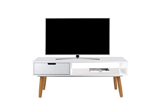 LIFA LIVING Fernsehtisch Lowboard Weiss mit Schublade, Vintage TV Schrank TV Board Holz, Couchtisch Wohnzimmertisch für Flachbildschirm Fernseher Konsole, 40x100x40
