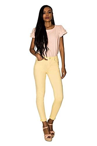 Lusty Chic Jeans Skinny Vita Regular Donna, Jeans da Donna a Forma Perfetta in Cotone, Jeans Elasticizzati Donna Vita Alta - Giallo Chiaro, Taglia: 38