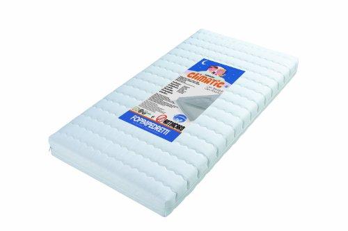 Foppapedretti Climatic - Materasso antiacaro per lettino, Rivestimento in cotone 100% sfoderabile e lavabile, Bianco, 124 x 63 x 12 cm
