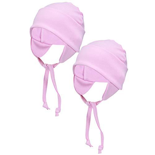 TupTam Baby Erstlingsmütze mit Ohrenklappen 2er Pack, Farbe: Rosa, Größe: 50/56
