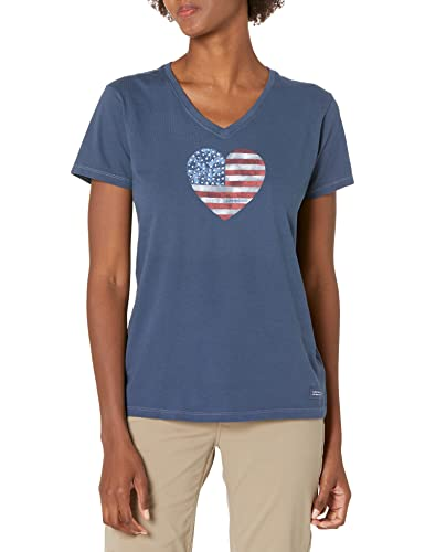 Life is Good Women's Crusher Graphic V-Neck T-Shirt, Watercolor Flag, Darkest Blue, X-Large