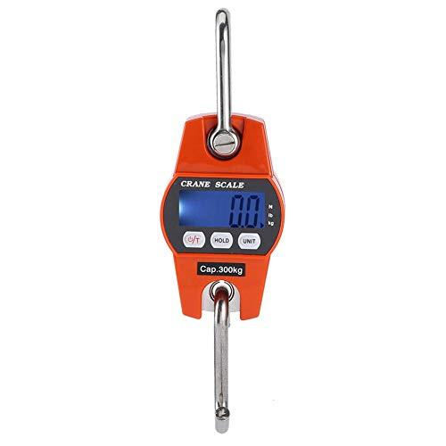Báscula de equipaje, Mini grúa digital portátil Pantalla LCD Gancho Báscula colgante Báscula eléctrica 300 kg/600 lb Naranja para granja, caza, arco Peso