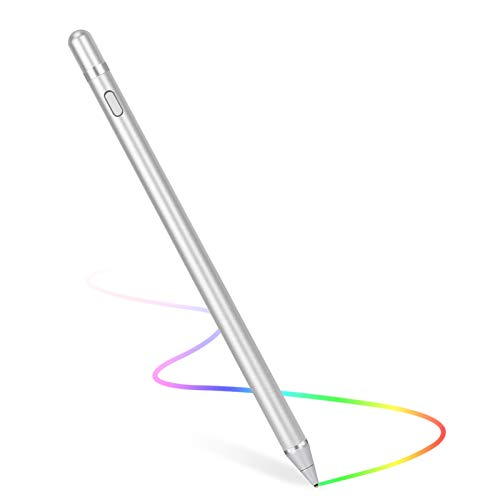 Stylus Pen for Touch Screens, Digital Pen Active Pencil Fine Point Compatible with iPhone iPad and Other Tablets (Silver)