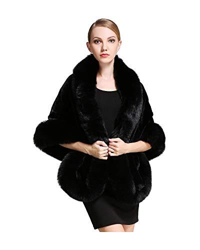 BEAUTELICATE Faux Fur Wrap Shawl Women's Long Cape Bridal Shrug for Winter Wedding Evening (5 Colors), , Black