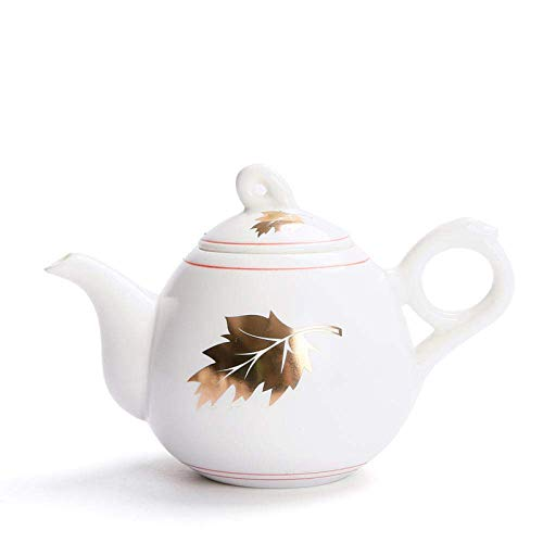 JHSHENGSHI 215ml White Porcelain Golden Maple Leaf Teapot Ceramic Tea Set Brew Tea Pot Kettle Tea Maker Creative