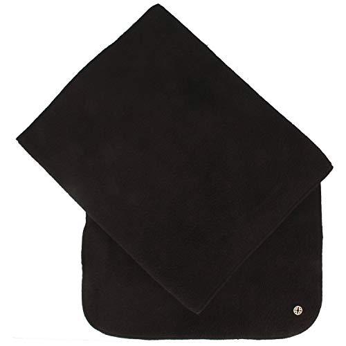 LOEVENICH Weicher Damen Schal | Halstuch aus super warmen POLAR SOFT Fleece – 24 x 180 cm - mit Fransen - uni einfarbig in verschiedenen Farben (One size, Schwarz)