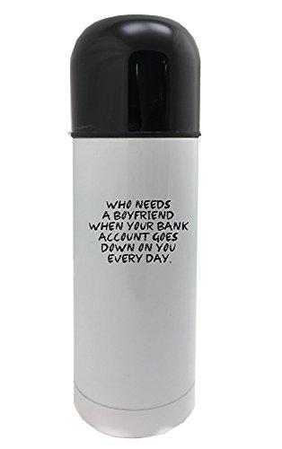 Fotomax die een vriendje nodig heeft als je bankrekening elke dag op je neerkomt. 350ml witte thermosfles