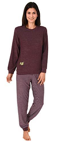 Edler Damen Frottee Pyjama mit Bündchen, Schlafanzug mit süßem Tiermotiv - 291 201 13 773, Farbe:Beere, Größe2:48/50