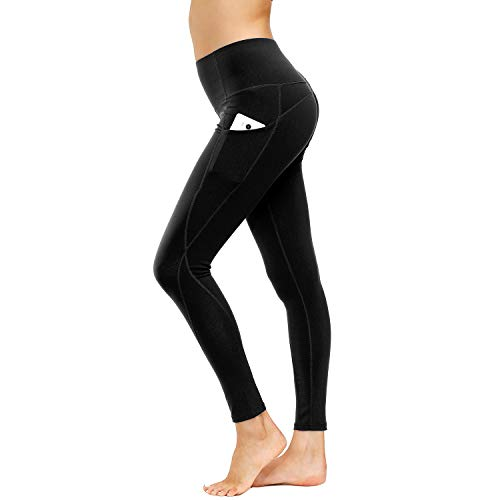 HMIYA Sporthose Damen, Sport Leggings Blickdicht Fitnesshose Tights Yoga Hose mit Taschen(Schwarz,S)