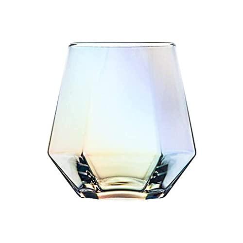 Huachaoxiang Vidrio De Cristal Hexagonal Whisky Copas De Vino Tinto Hogar Bebidas Frías Taza Estrella Camping Cocida Coctel Copa 2Pc Colorido,Clear