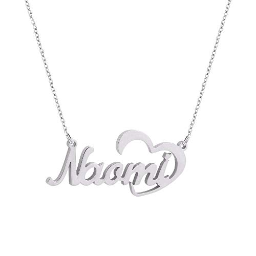 Collar personalizado con nombre colgante corazon plata 925 mujer colla