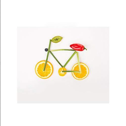 Creatieve fiets fruit groente posters en prints nordic stijl kunst aan de muur foto voor kinderen baby keuken slaapkamer decor 30x30cm geen frame.