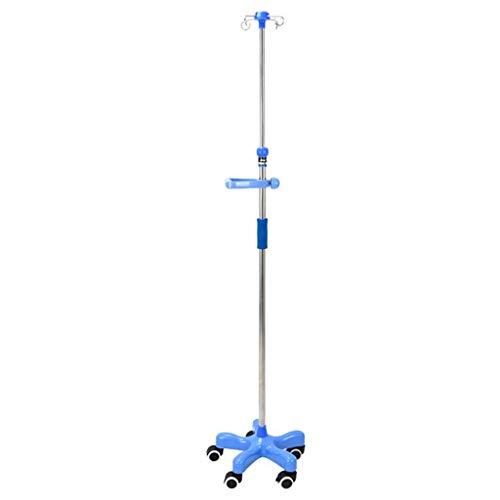 Soporte de Infusión Intravenosa Ajustable con Ruedas, Soporte Porta Sueros - 5 Patas con 4 Ganchos-Base ABS