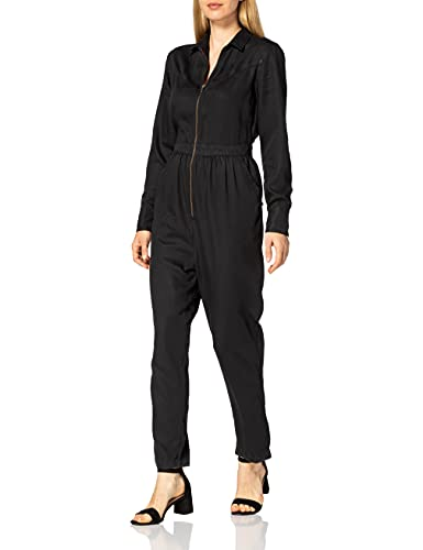 Superdry Womens Western Jumpsuit Dress, Washed Black, XS