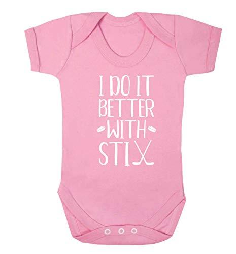 Flox Creative Gilet pour bébé Inscription I do it better with stix hockey - Rose - XS