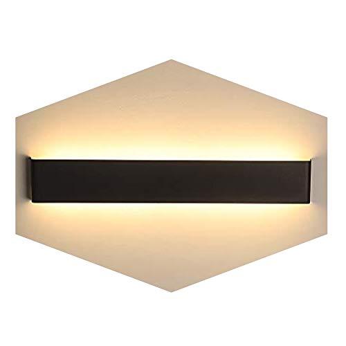 XIAJIA-24W LED Lámpara de pared Interior,Moderna Apliques de Pared,Moda Agradable Luz de Ambiente,perfecto para Lámpara de Decoración para, AC85-265V, Longitud 56cm,Negro/Blanco Cálido