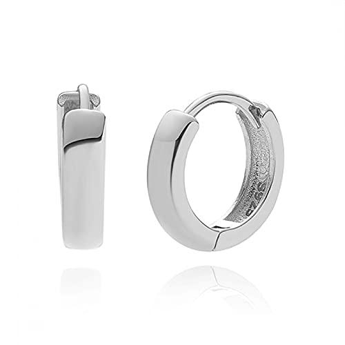 Owenqian Pendientes de Aros en Negrita de Plata de Ley 925 para Mujer, Pendientes Circulares Plateados, joyería de Compromiso de Boda