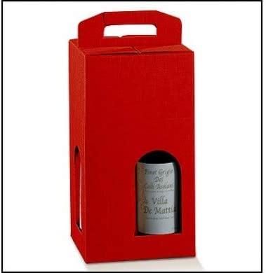 5 cajas rojas para 4 botellas de vino verticales modelo Bordolés, bolgote robustas y extrañas navideñas, cartón acoplado y asa exterior 18 x 18 x 34 x 4 cm, color rojo