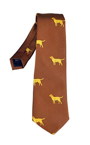 ADAMANT Krawatte GauLand mit Hund, Golden Retriver, Farbe beige/braun, Schmutzabweisend ausgerüstet, HANDGENÄHT