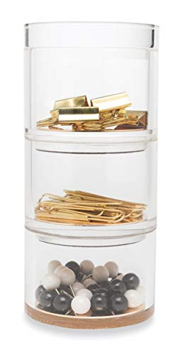 Kate Spade New York Acrylic Stackable Desk Organizer Set of 3, Strike Gold