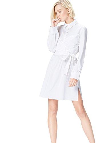 find. Vestido Camisero con Cuerpo Anudado para Mujer , Blanco (Weiß), 38 (Talla del Fabricante: Small)