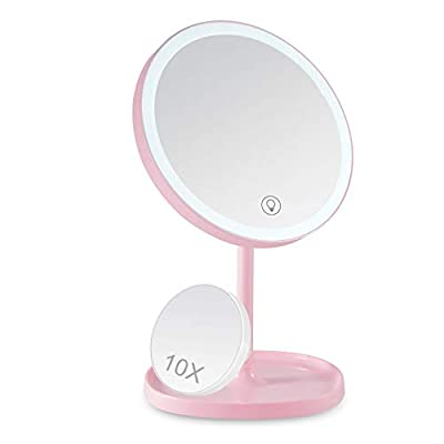 LED Makeup Mirror, Sailstar 4000K Makeup Mirror with Lights, Touch Screen Dimming, 1X/10X Magnification, 180 Degree Rotation, Support USB Charging, Detachable Portable Mirror
