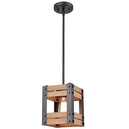 Rustic Wood Pendant Light Farmhouse Rod-Hung Kitchen Pendant Lighting