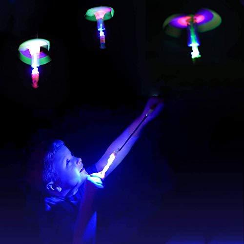 PHLPS Flash LED Light Juguete Diversión Regalo Elástico, 12pack Rocket Slingshot Helicópteros, Luz Rocket Slingshot, Helicóptero Rocket Rocket Volar
