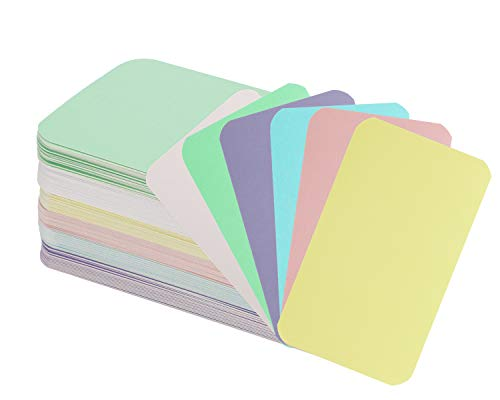 Penta Angel 120 Pieces Small Pieces Blank Kraft Cards Business Message Greeting Paper Cards Mini DIY Vocabulary Flash Word Card Gift Tags Label Note Thank You Cards (Yellow,White,Green,Pink,Blue,Purple)
