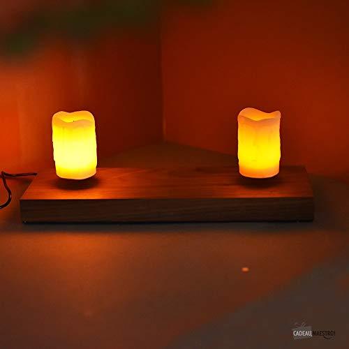 Base électro magnétique bois avec induction + 2 bougies leds - Marron