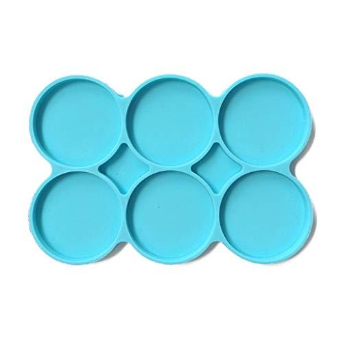 MISHITI 6-Cavity siliconen grote ronde mallen Disc hars Coaster mallen 6 Pack cirkel mallen Multifunctionele non-stick DIY mallen voor cake Hamburger broodje chocolade snoep hars kunst