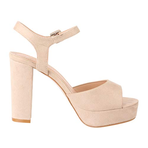 Elara Damen Pumps Peep-Toe Sandalette Chunkyrayan AT0983 Beige-39