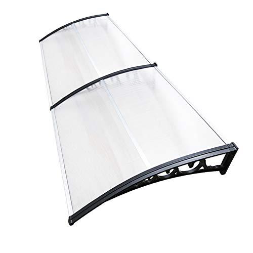Hengda Vordach für Haustür 300 x 100 cm Pultbogenvordach Transparent Polycarbonat Pultvordach Überdachung 5 mm, PP Halterung,Türdach für draußen Sonnenschutz Regenschutz