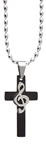 Stainless Steel Cross Necklace w/Treble Clef