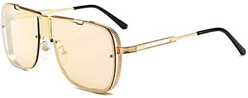ZYIZEE Gafas de Sol Gafas de Sol cuadradas de Moda para Hombre Gafas de Sol de Lujo con Espejo Marco de Metal Tonos Transparentes de Gran tamaño Uv400-gold_Mirror_Pink