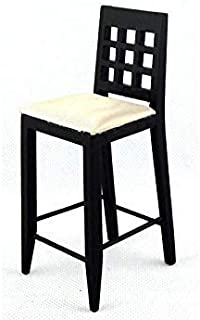 Melody Jane Dolls Houses Black Bar Stool High Chair Miniature Kitchen Pub Furniture 1:12