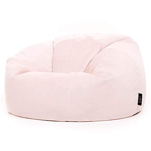 icon Milano Classic Bean Bag Chair, Rose Dust Pink, 85cm x 50cm, Large Velvet Living Room Bean Bags for Adults