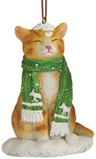 On Holiday Orange Tabby Cat with Green Scarf Christmas Tree Ornament