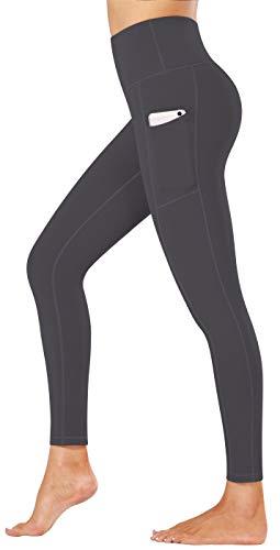 Fengbay High Waist Yoga Pants, Pocket Yoga Pants Tummy Control Workout Running 4 Way Stretch Yoga Leggings Gray