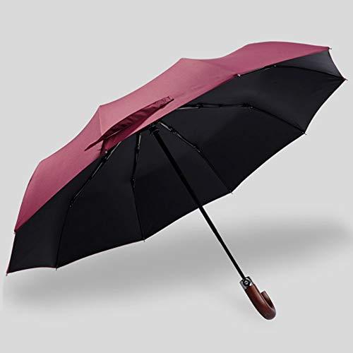 Big seller Regenschirme Regenschirm automatische dreifach Winddichte große Doppelte Verstärkung Langen Griff Männer und Frauen (Farbe : Red)