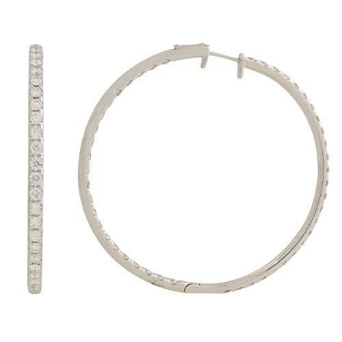 Rachel Koen Pendientes de aro de oro blanco de 18 quilates con diamantes de tamaño mediano, 4,60 quilates