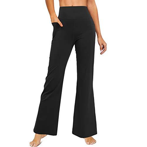LEINIDINA Bootcut Yoga Pants for Women Flared Leggings with Pocket Bootleg Casual Lounge Pants Work Pants Sweatpants (Black, 3X-Large)