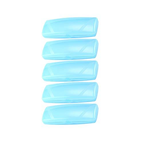 EXCEART Funda de Gafas de Plástico de 5 Piezas Funda de Gafas de Sol Transparente Portátil Soporte de Gafas Protectoras para Hombre Mujer (Azul Cielo)