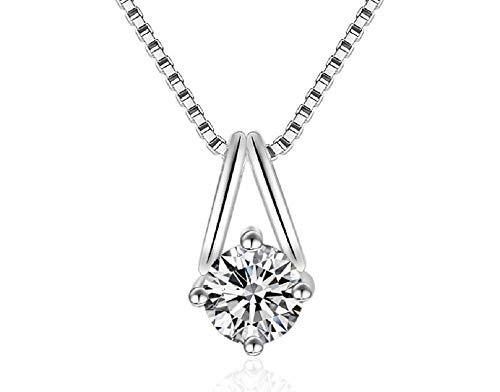 Weishu 18K White Gold Plated Cubic Zirconia Diamond Necklace Women 2 Carat...