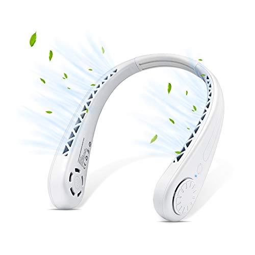 AmyFei Tragbare Ventilator, Mini USB der blattlose Halsventilator, 3-fach einstellbarer USB-Ventilatoren, geeignet für Outdoor-Sportarten, zu Hause, im Büro, Camping , Reisen ,Geschenk zum Vatertag