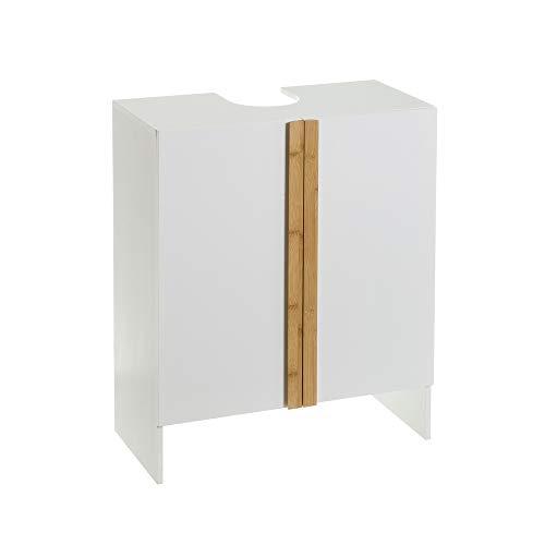 Armario bajo Lavabo para encastrar de bambú y MDF Blanco nórdico de 60x29x70 cm - LOLAhome