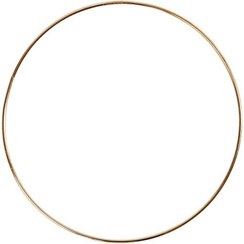 Anello in fil di ferro, diam: 30 cm, spess. 3 mm, oro, 1pz