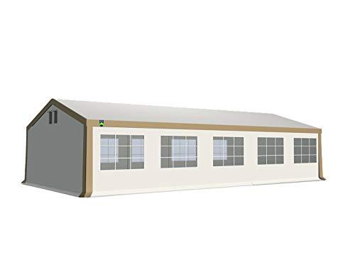 KC Partyzelt 5x10 m Pavillon Zelt 500g/m² - PVC Plane - Gartenzelt Festzelt Bierzelt - Rahmen aus Stahl - Inkl. Seitenwände & Giebelwände - Beige