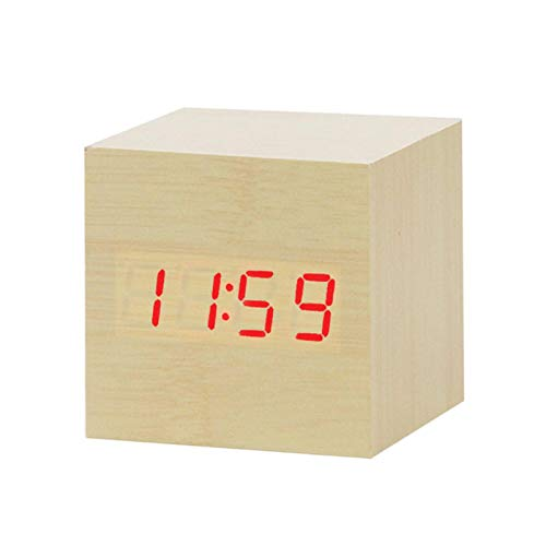 HAIBOMY Reloj Despertador Reloj de Reloj de Alarma de Madera LED Mesa de Reloj Control de Voz Digital Madera electrónica Desktop USB/AAA Relojes alimentados Despertador para niños (Color : S)